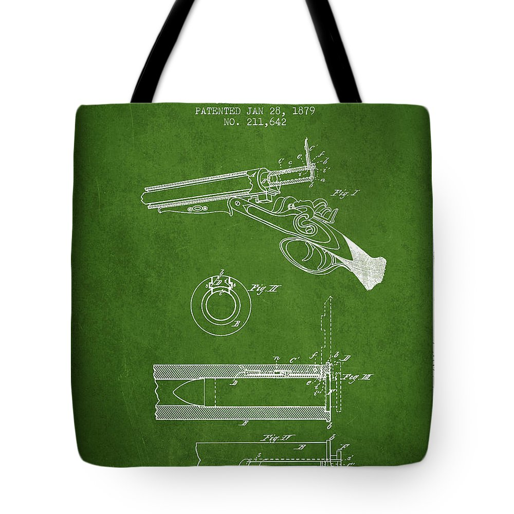 Rifle Patent Tote Bag featuring the digital art Breech Loading Shotgun Patent Drawing From 1879 - Green by Aged Pixel