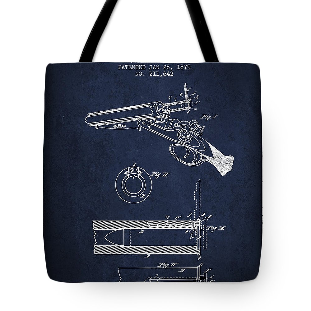 Rifle Patent Tote Bag featuring the digital art Breech Loading Shotgun Patent Drawing From 1879 - Navy Blue by Aged Pixel