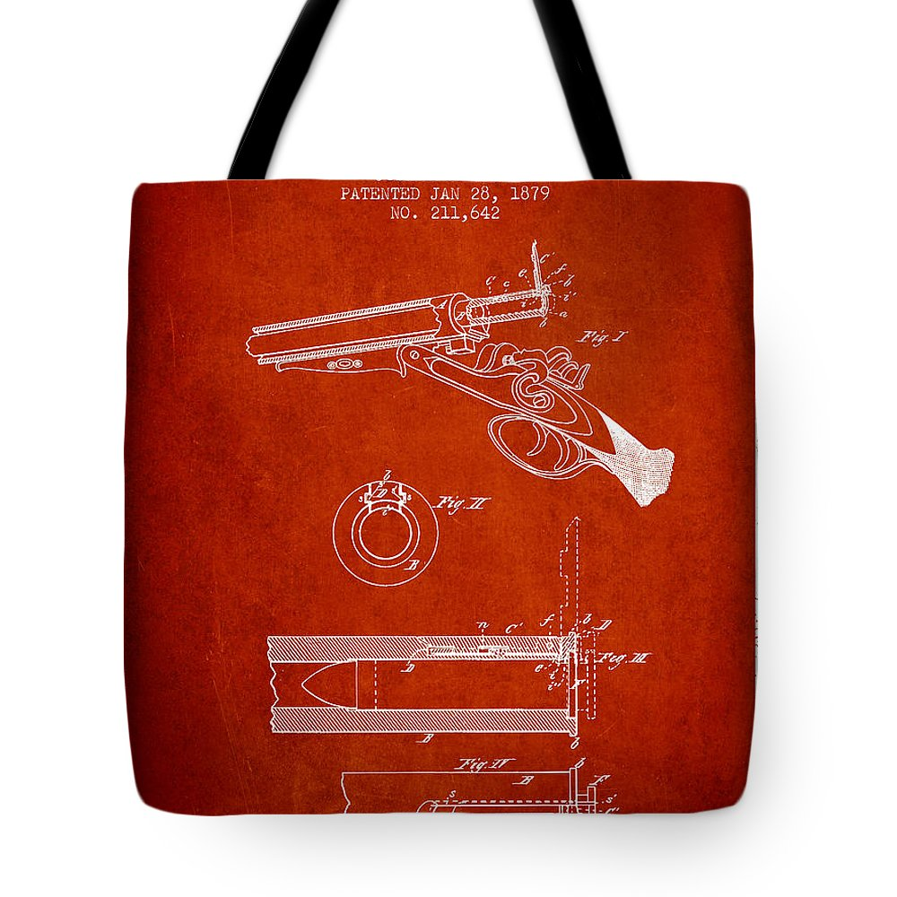 Rifle Patent Tote Bag featuring the digital art Breech Loading Shotgun Patent Drawing From 1879 - Red by Aged Pixel