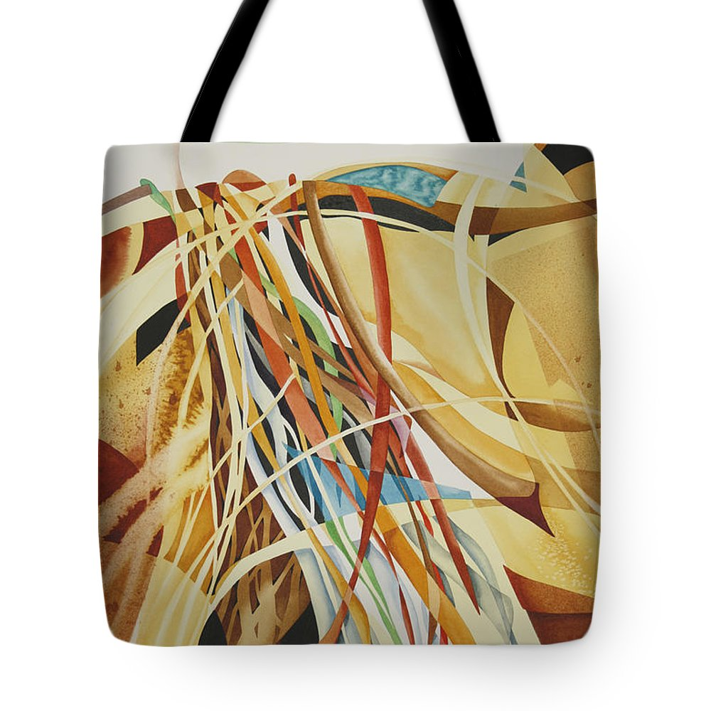 Abstract Tote Bag featuring the painting Breezy Day by Joye Moon