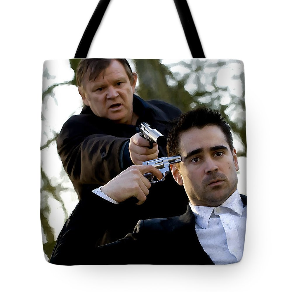 Brendan Gleeson Tote Bag featuring the digital art Brendan Gleeson and Colin Farrell @ In Bruges by Gabriel T Toro