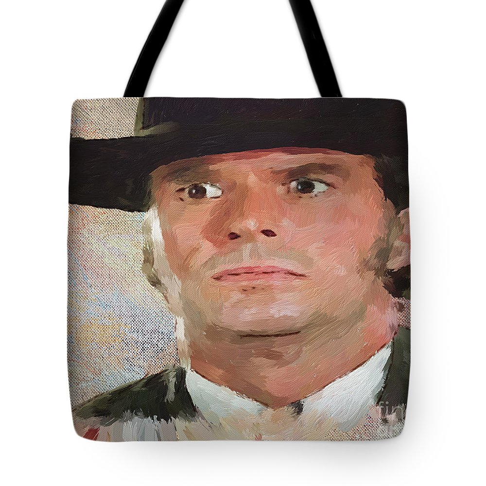 Bret Maverick Tote Bag featuring the painting Bret by Jack Milchanowski