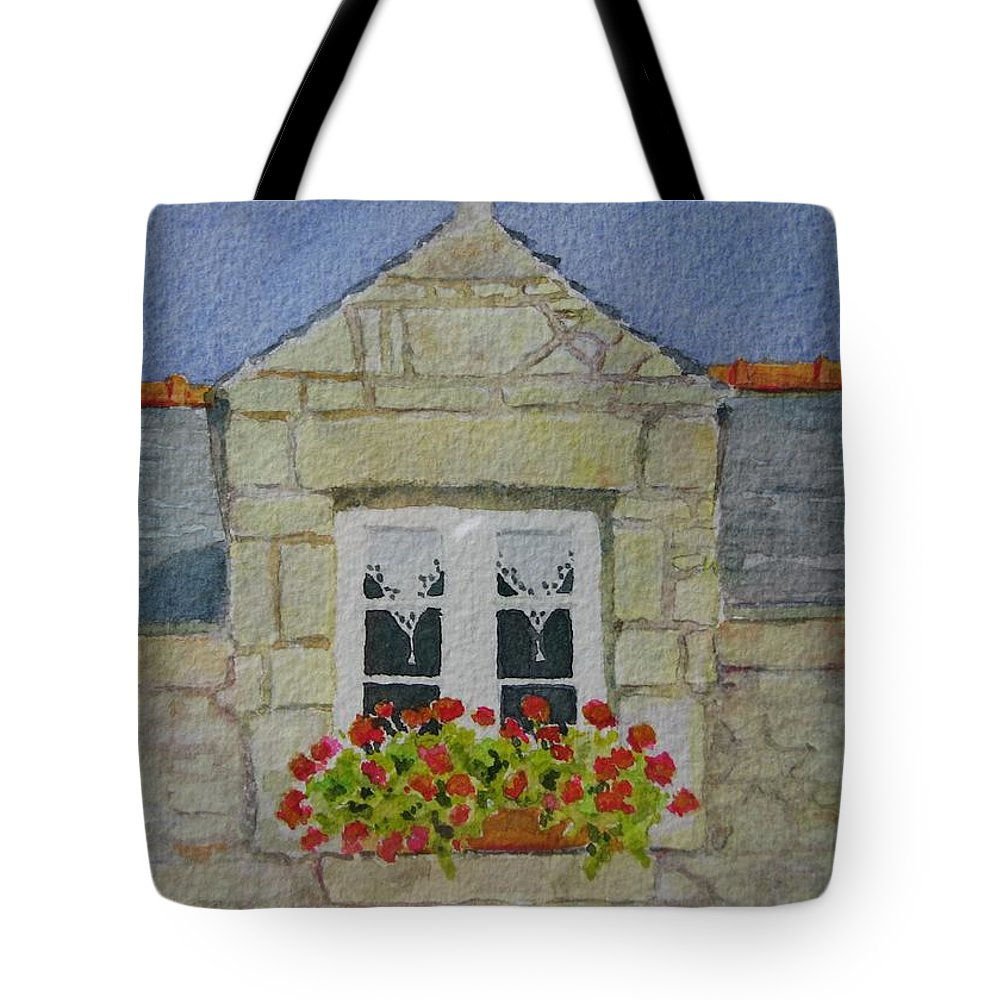 France Tote Bag featuring the painting Bretagne Window by Mary Ellen Mueller Legault