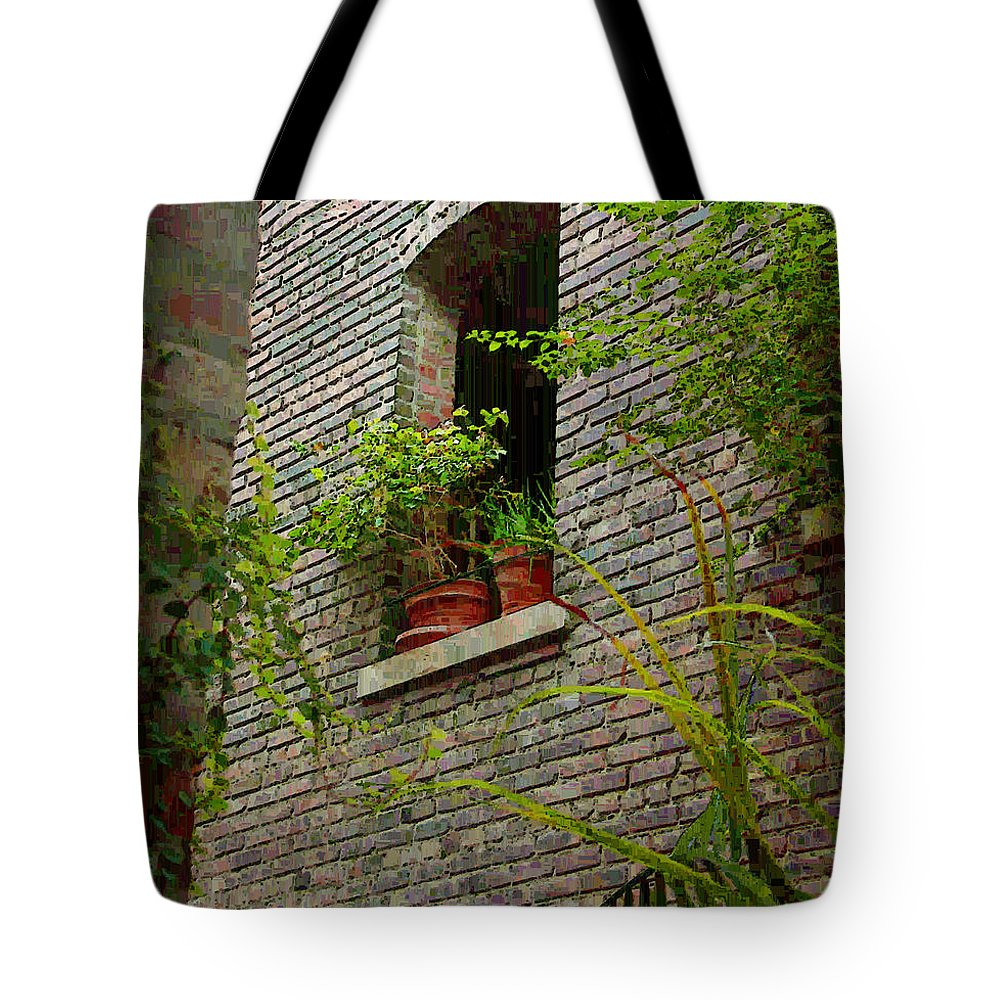 Window Tote Bag featuring the painting Brick With Greenery by RC DeWinter