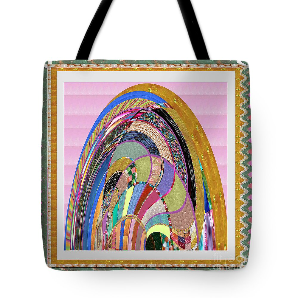 Bride Tote Bag featuring the painting Bride In Layers Of Veils Accidental Discovery From Graphic Abstracts Made From Crystal Healing Stone by Navin Joshi