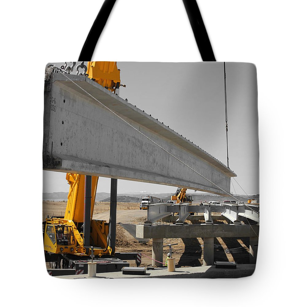 Construction Tote Bag featuring the photograph Bridge Building Bw by Chris Martin