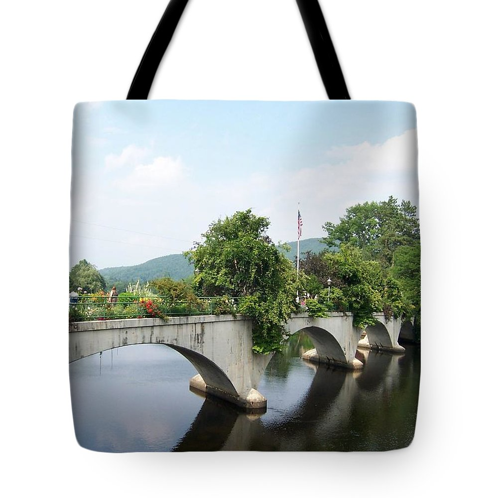 Bridge Tote Bag featuring the photograph Bridge Of Flowers In Shelburne by Catherine Gagne