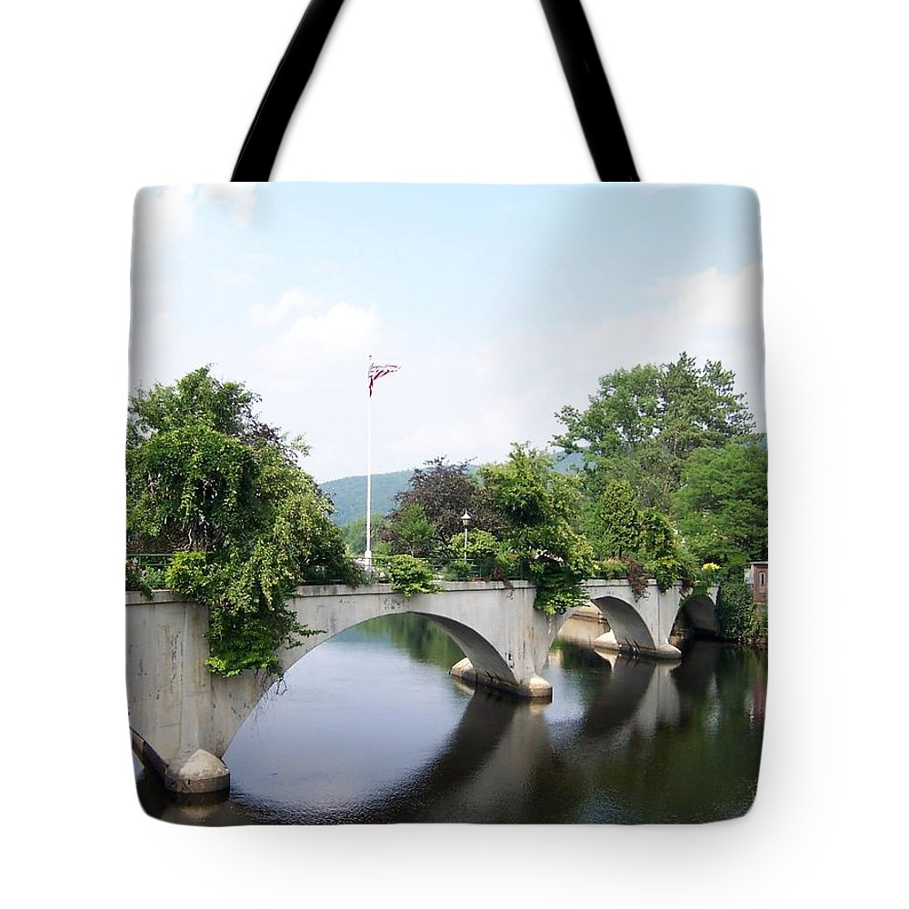 Bridge Tote Bag featuring the photograph Bridge Of Flowers by Catherine Gagne