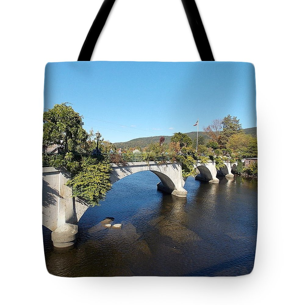 Bridge Tote Bag featuring the photograph Bridge Of Flowers by Nina Kindred