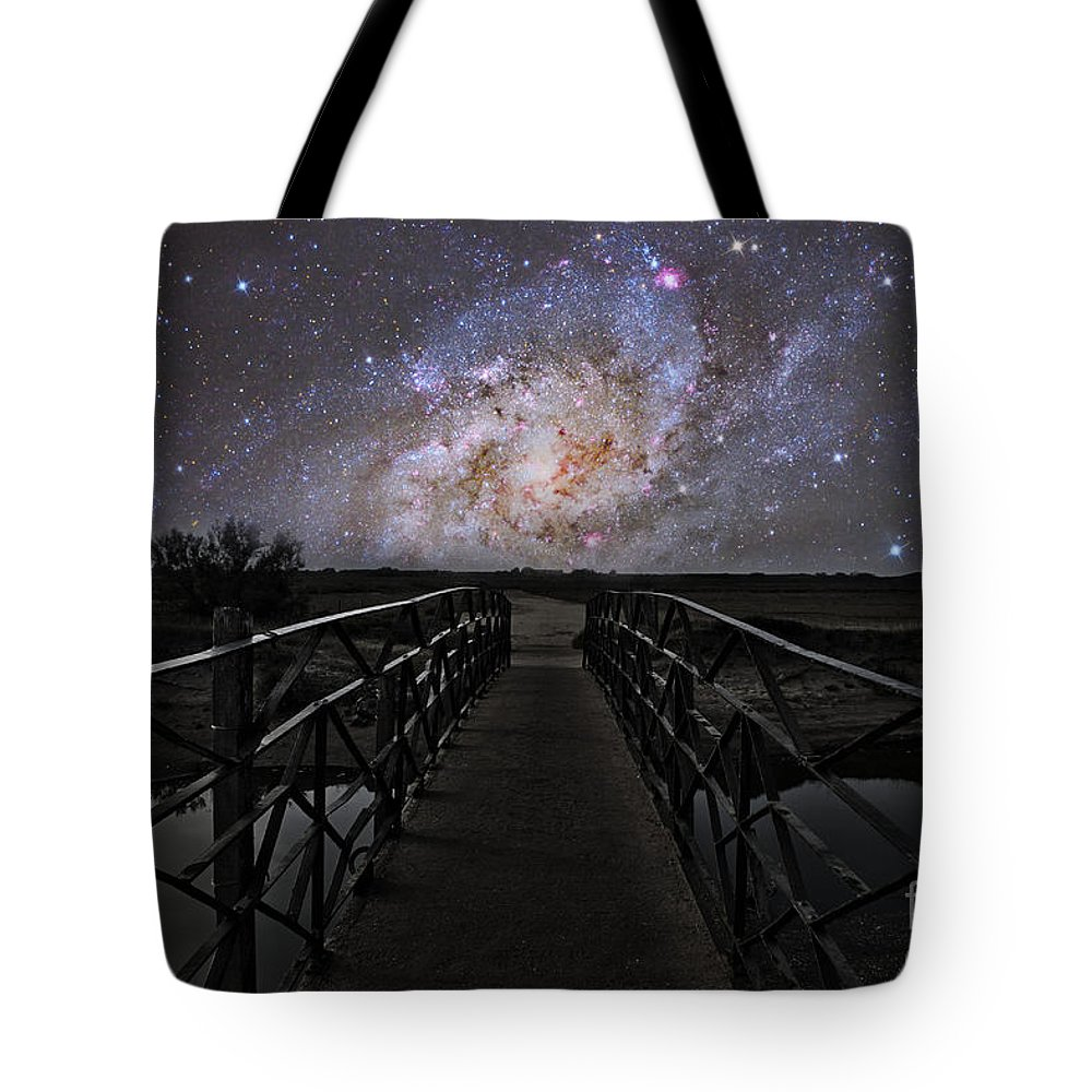 Stars Tote Bag featuring the photograph Bridge On A Distant Planet by Reinhold Wittich
