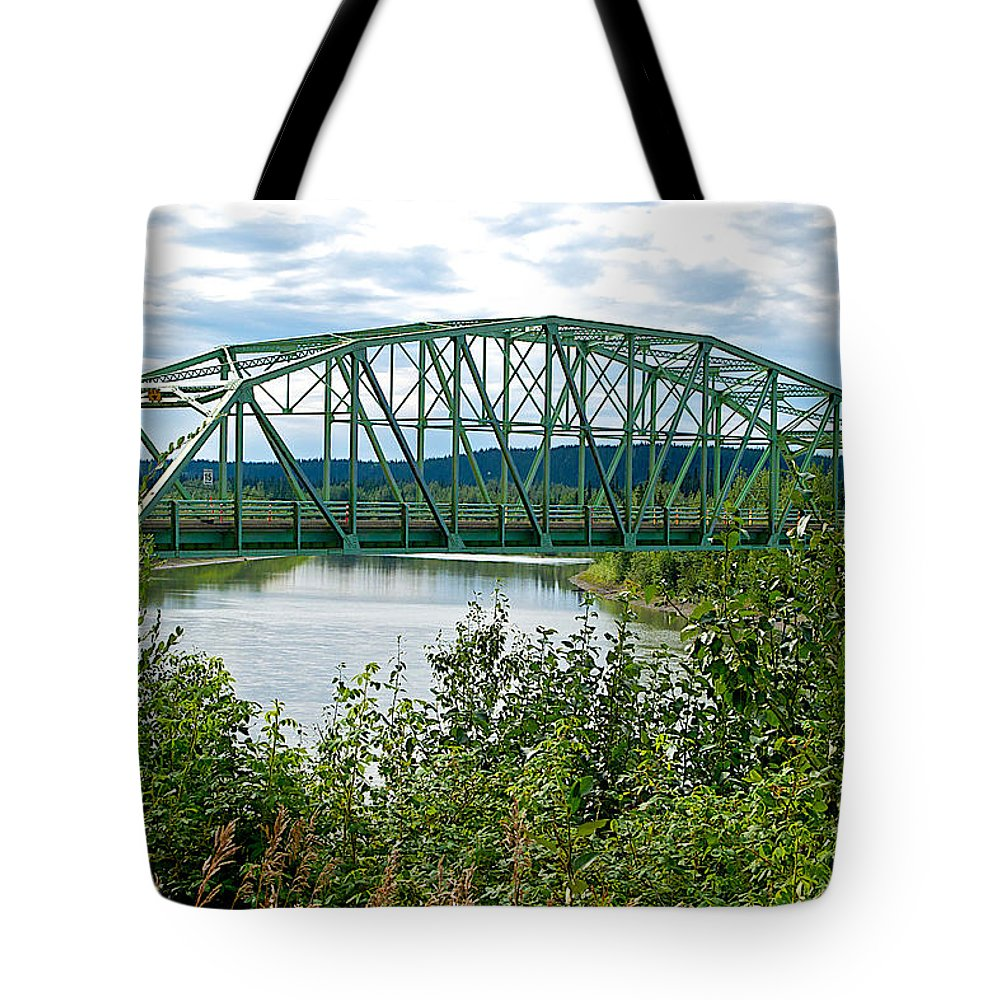 Bridge Over Stewart River From Klondike Highway Tote Bag featuring the photograph Bridge Over Stewart River From Klondike Hwy-yt by Ruth Hager