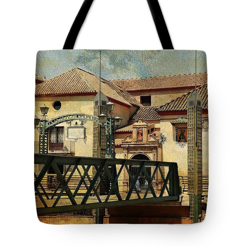 Spain Tote Bag featuring the photograph Bridge Over The River Guadalmedina In Malaga I. Spain by Jenny Rainbow