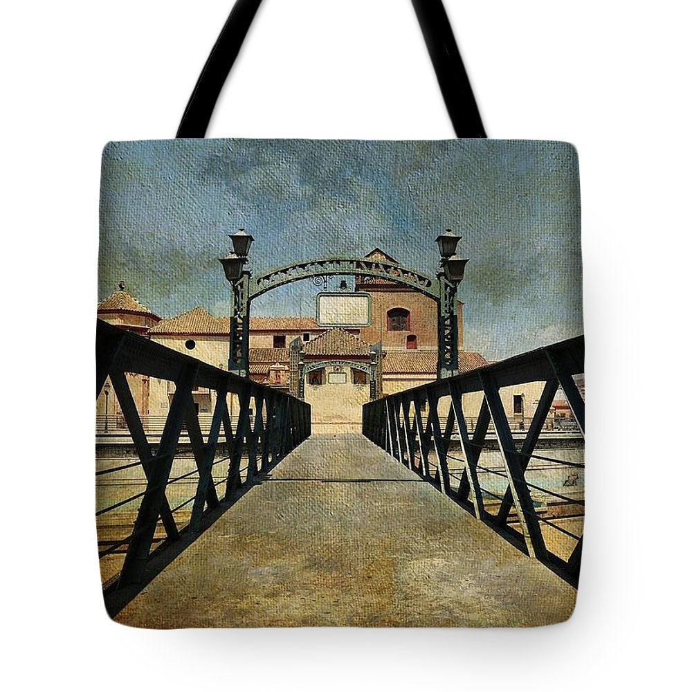 Spain Tote Bag featuring the photograph Bridge Over The River Guadalmedina In Malaga. Spain by Jenny Rainbow