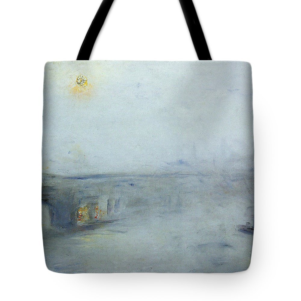 Lesser Tote Bag featuring the painting Bridge Over The River Thames by Lesser Ury