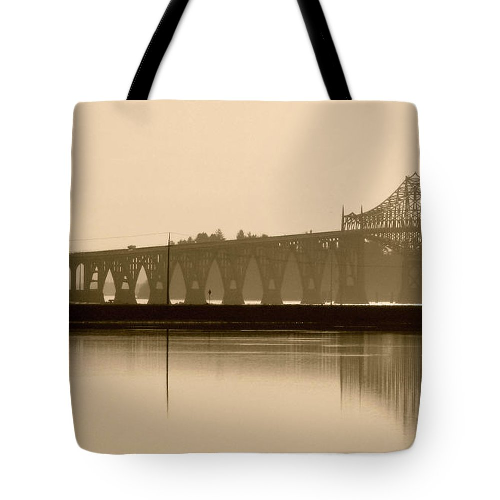 Reflections Tote Bag featuring the photograph Bridge Reflection In Sepia by Katie Wing Vigil