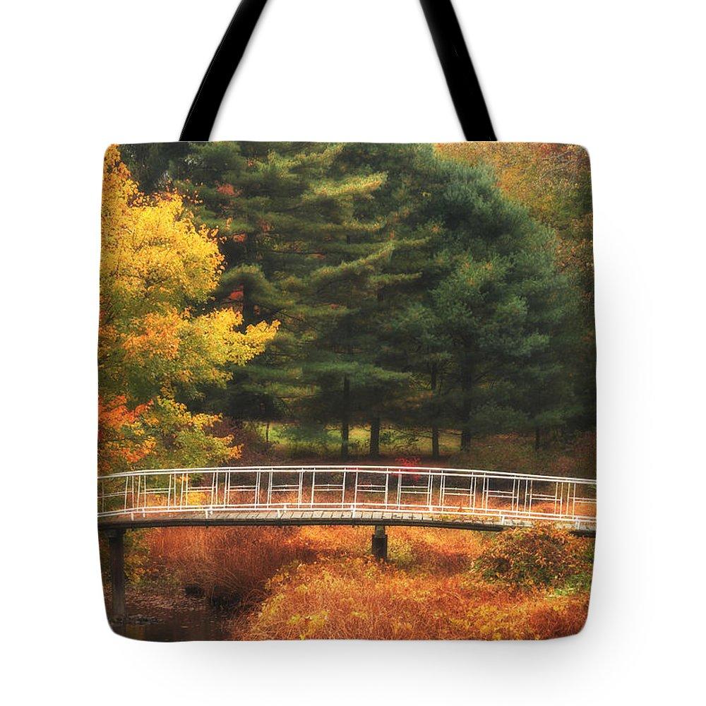 Autumn Tote Bag featuring the photograph Bridge To Autumn by Karol Livote