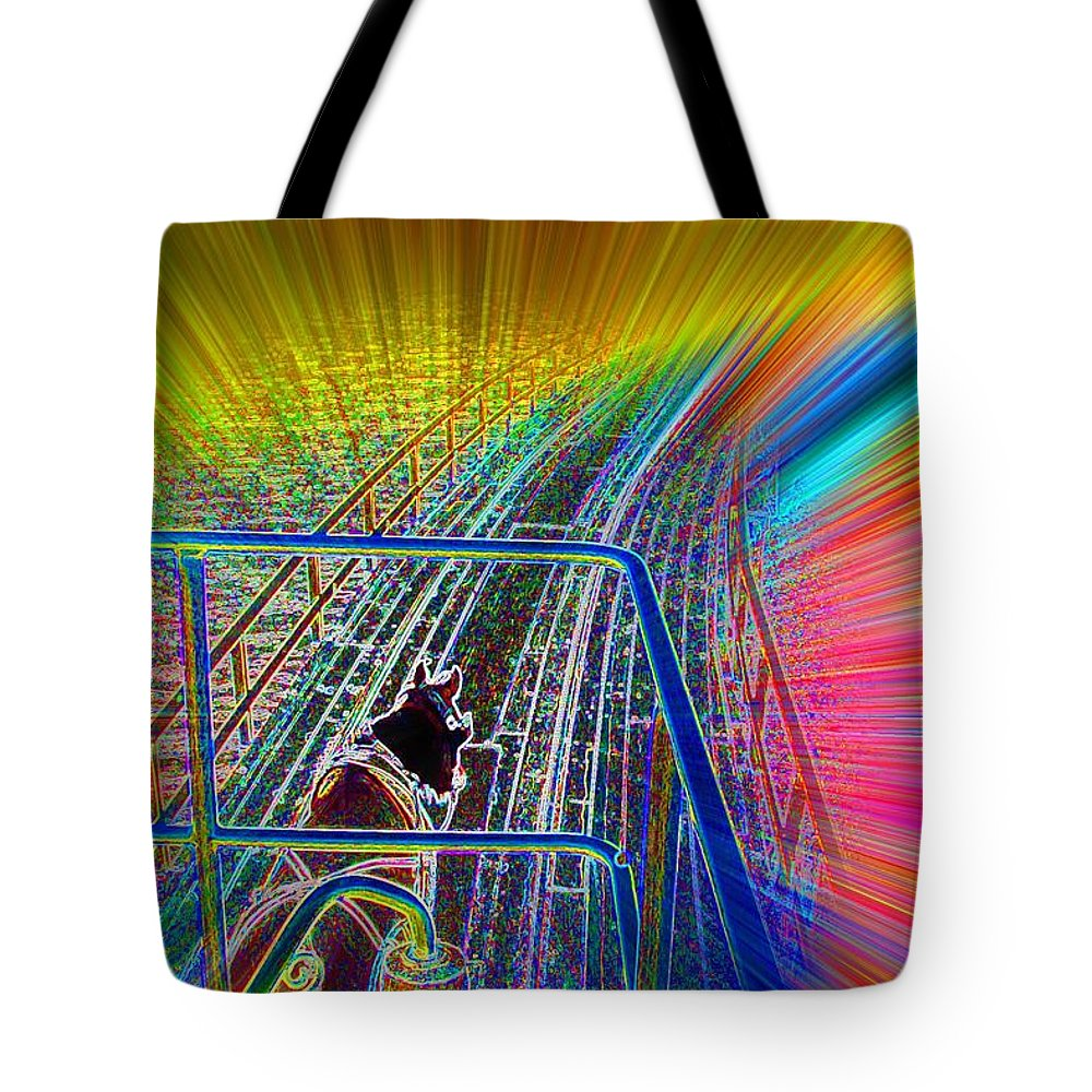 Bridge To Glory Tote Bag featuring the digital art Bridge To Glory by Lorles Lifestyles