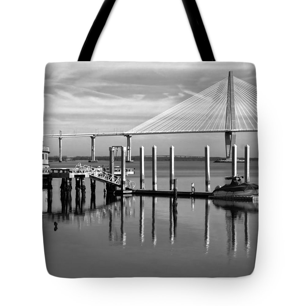 Ravenel Tote Bag featuring the photograph Bridge To Mount Pleasant - Black And White by Jenny Hudson