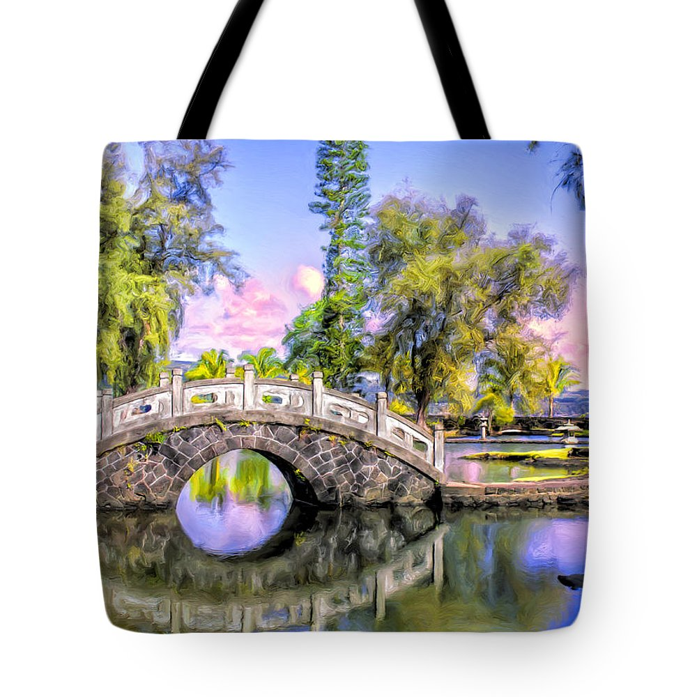 Liliukalani Tote Bag featuring the painting Bridges At Liliuokalani Park Hilo by Dominic Piperata