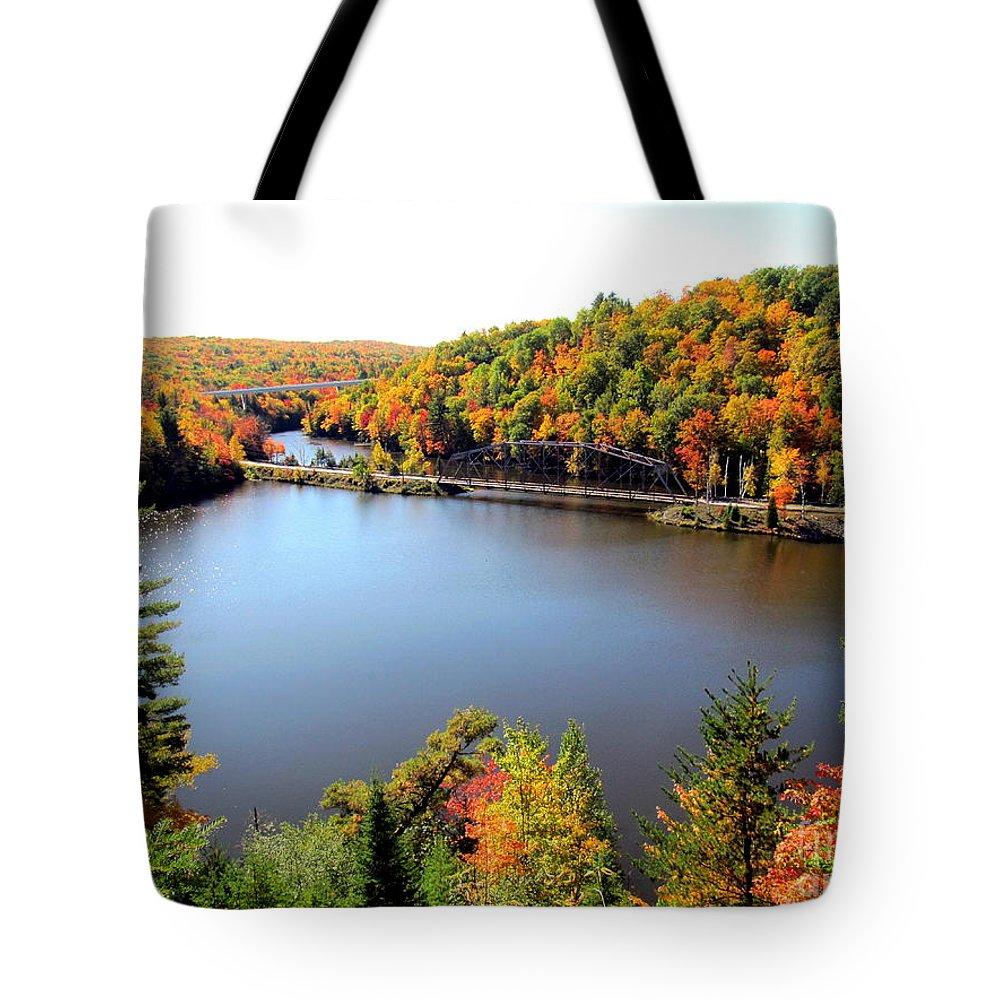Fall Tote Bag featuring the photograph Old Bridge, New Bridge by Jaunine Roberts