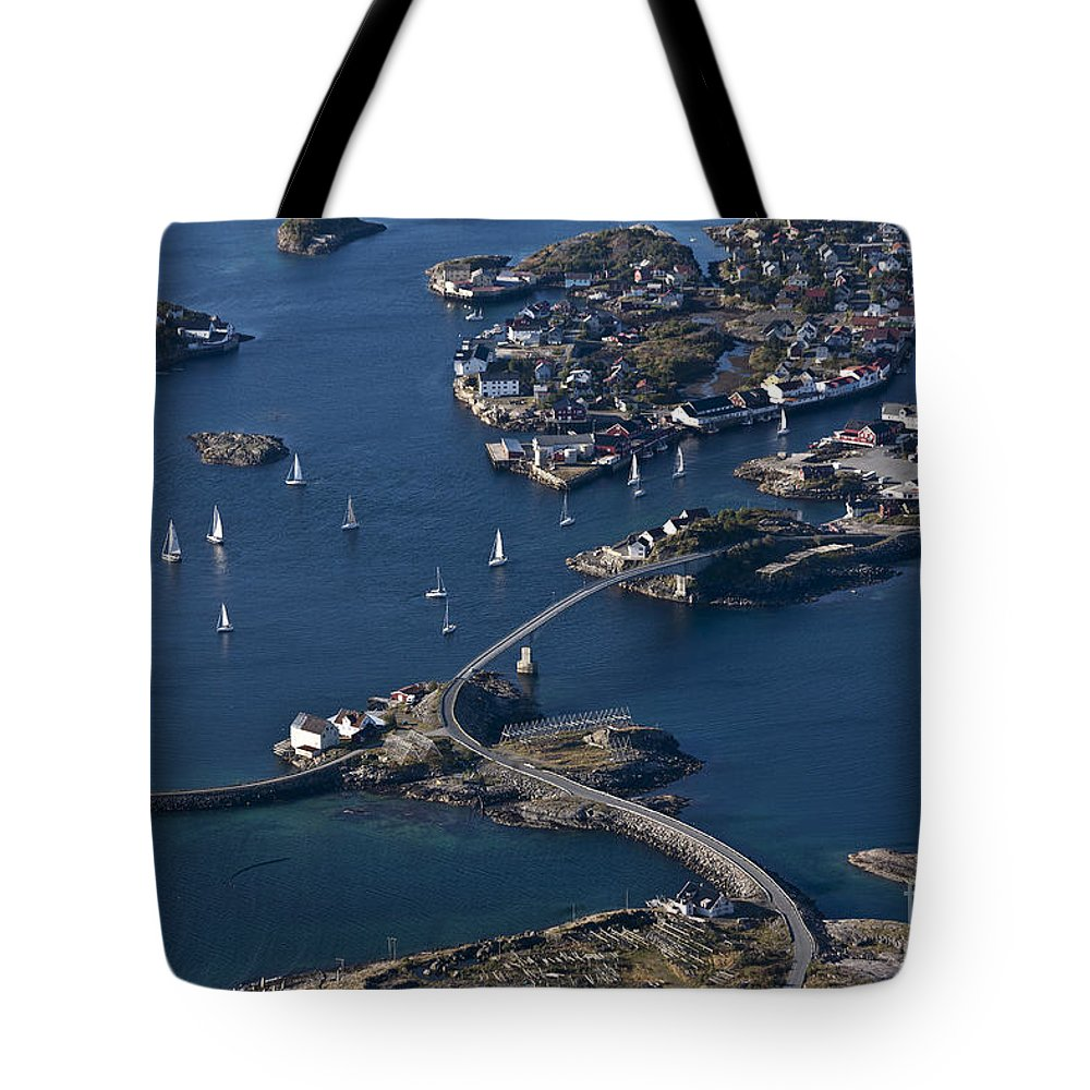 Norway Tote Bag featuring the photograph Bridging The Ocean by Heiko Koehrer-Wagner