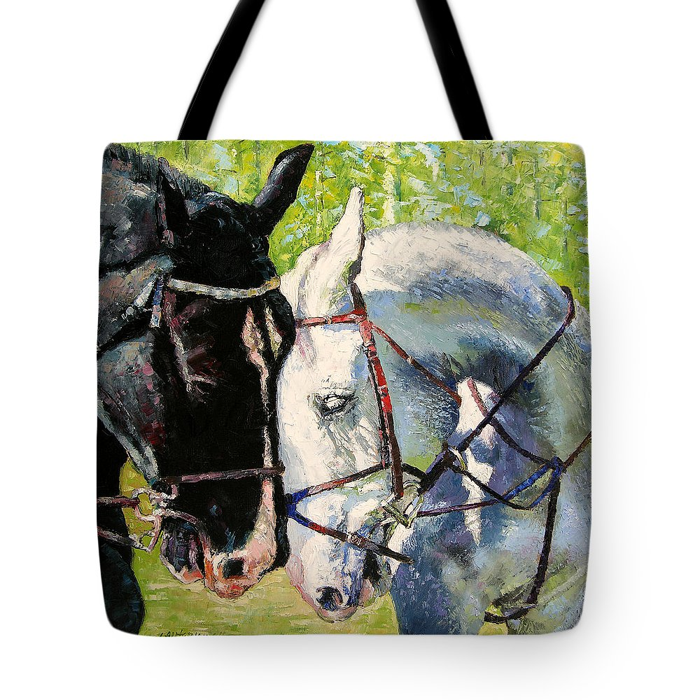 Horses Tote Bag featuring the painting Bridled Love by John Lautermilch