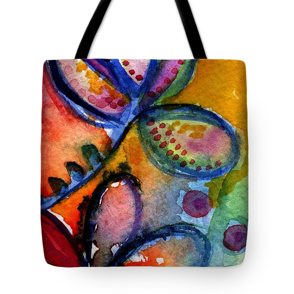 Abstract Tote Bag featuring the painting Bright Abstract Flowers by Linda Woods