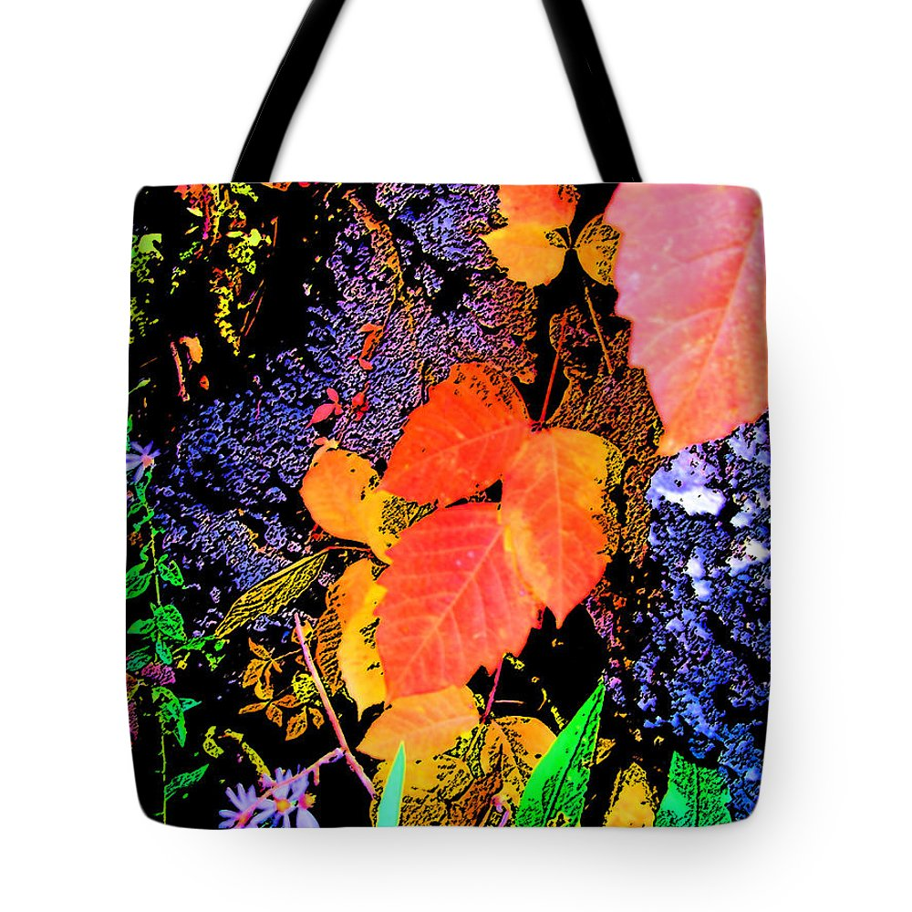 Leaves Tote Bag featuring the photograph Bright Colorful Leaves Vertical by Minding My Visions by Adri and Ray