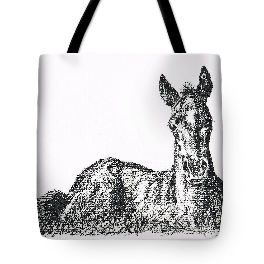 Horse Tote Bag featuring the drawing Bright Eyes by Joann Renner