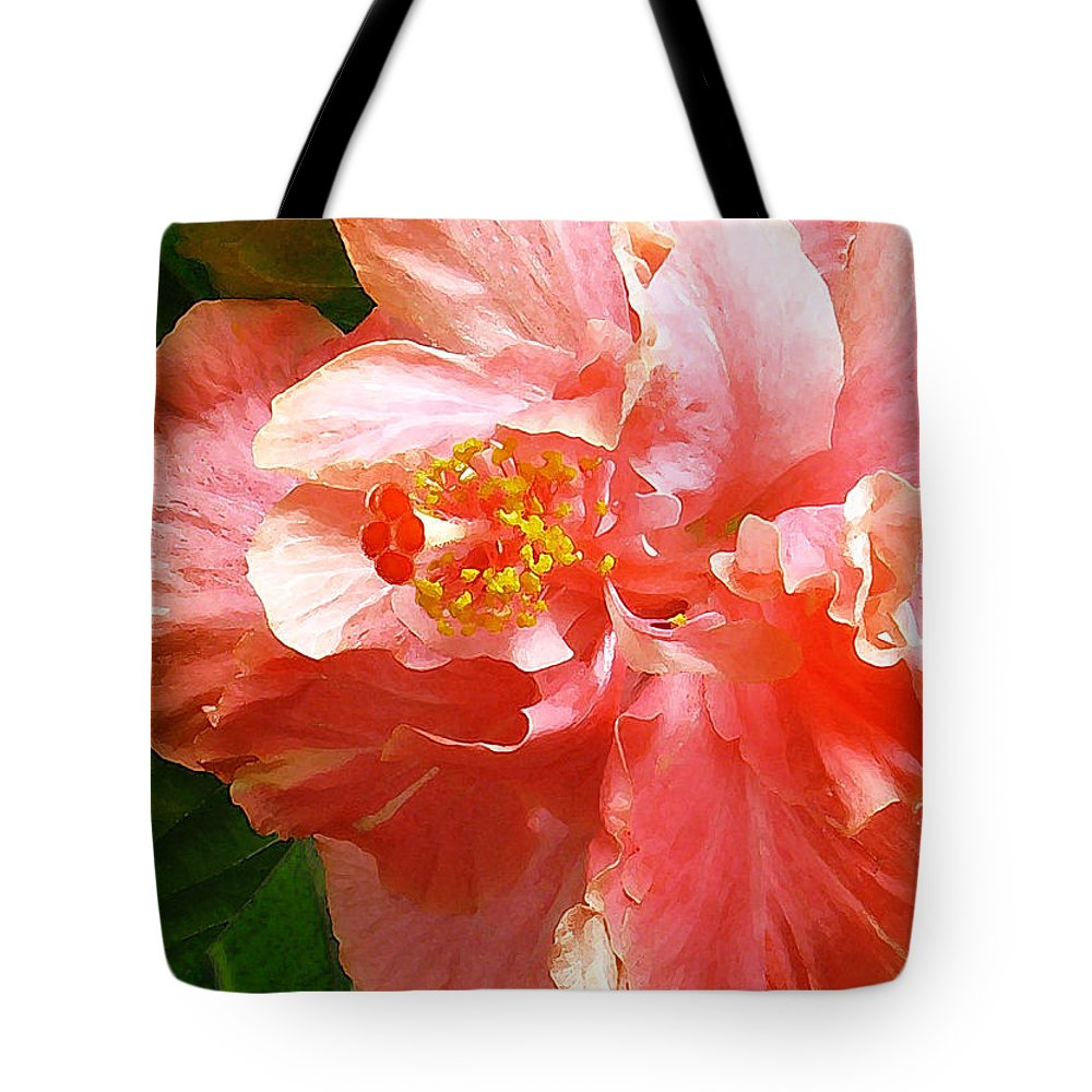 Hibiscus Tote Bag featuring the digital art Bright Pink Hibiscus by James Temple