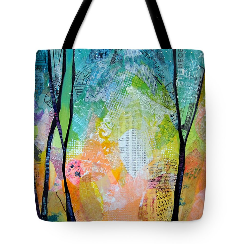Sunrise Tote Bag featuring the painting Bright Skies For Dark Days I by Shadia Derbyshire