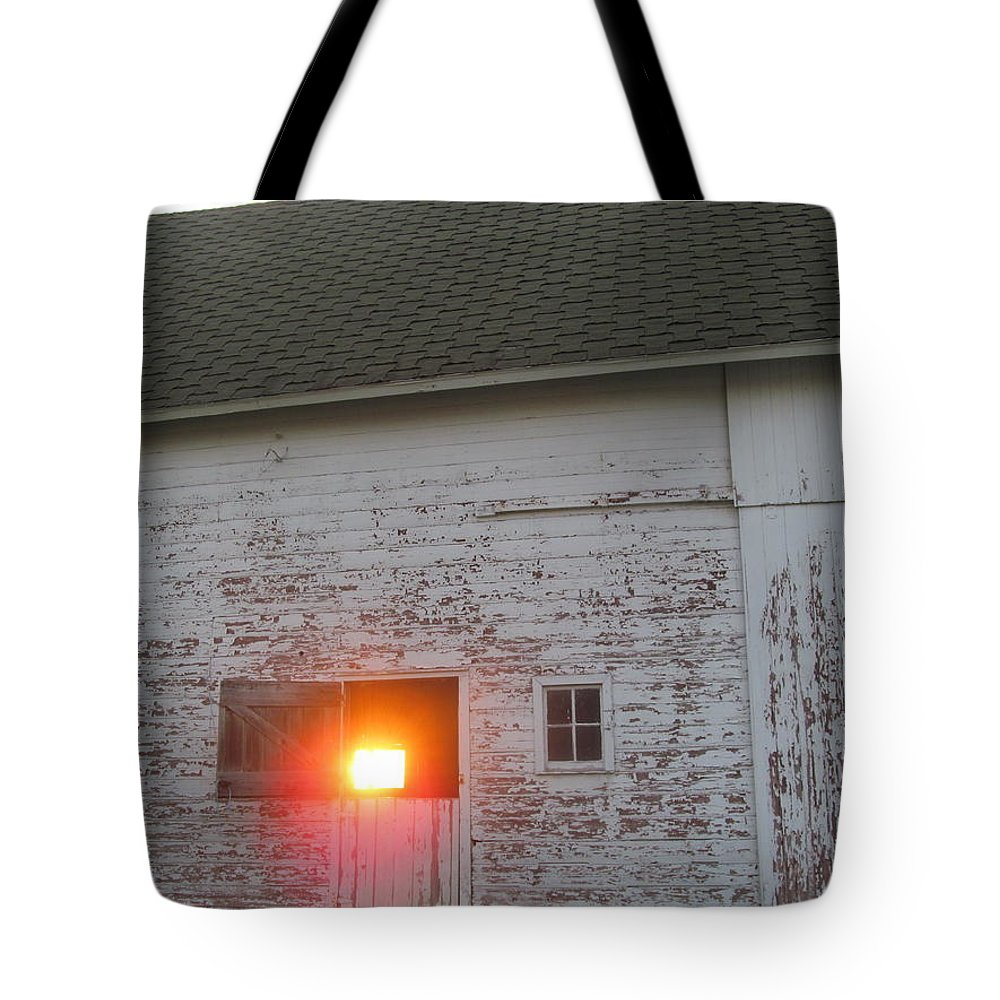 Barn Tote Bag featuring the photograph Bright Sunrise Through Barn by Tina M Wenger