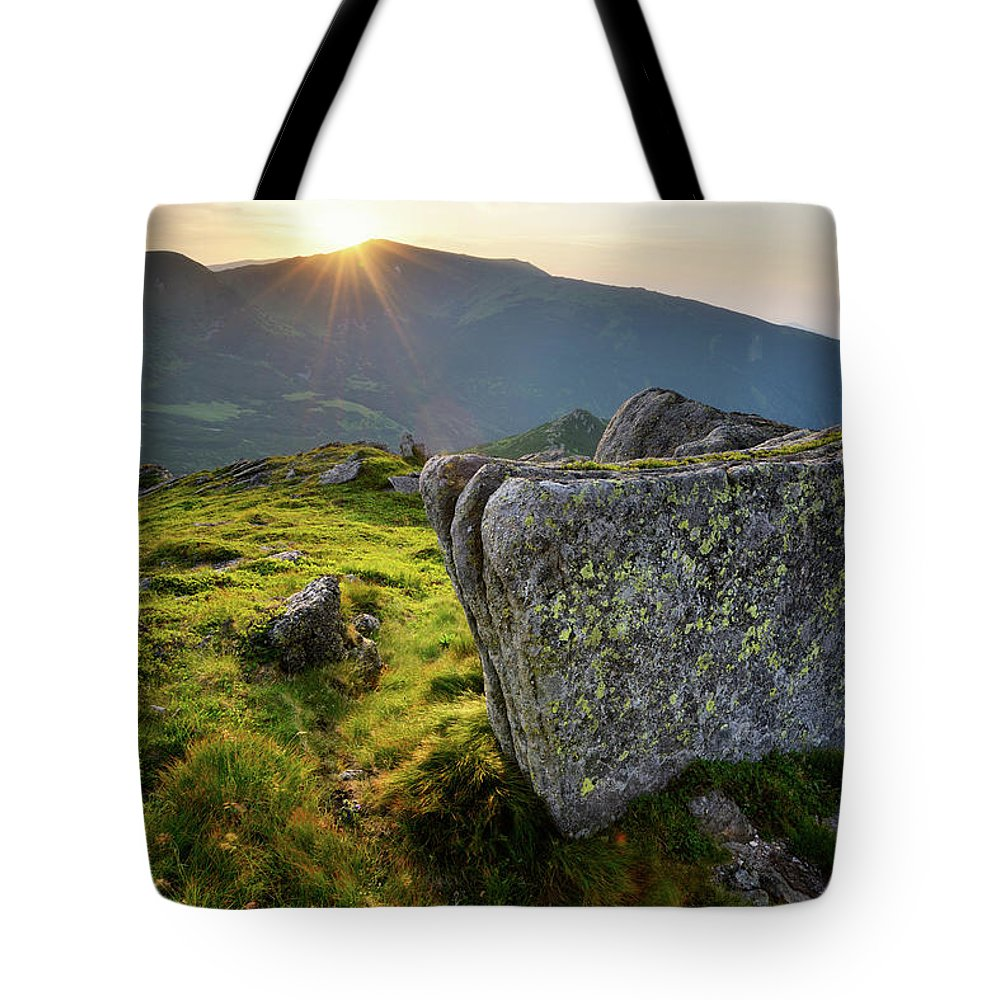 Scenics Tote Bag featuring the photograph Bright Sunset Landscape In Mountains by Rezus