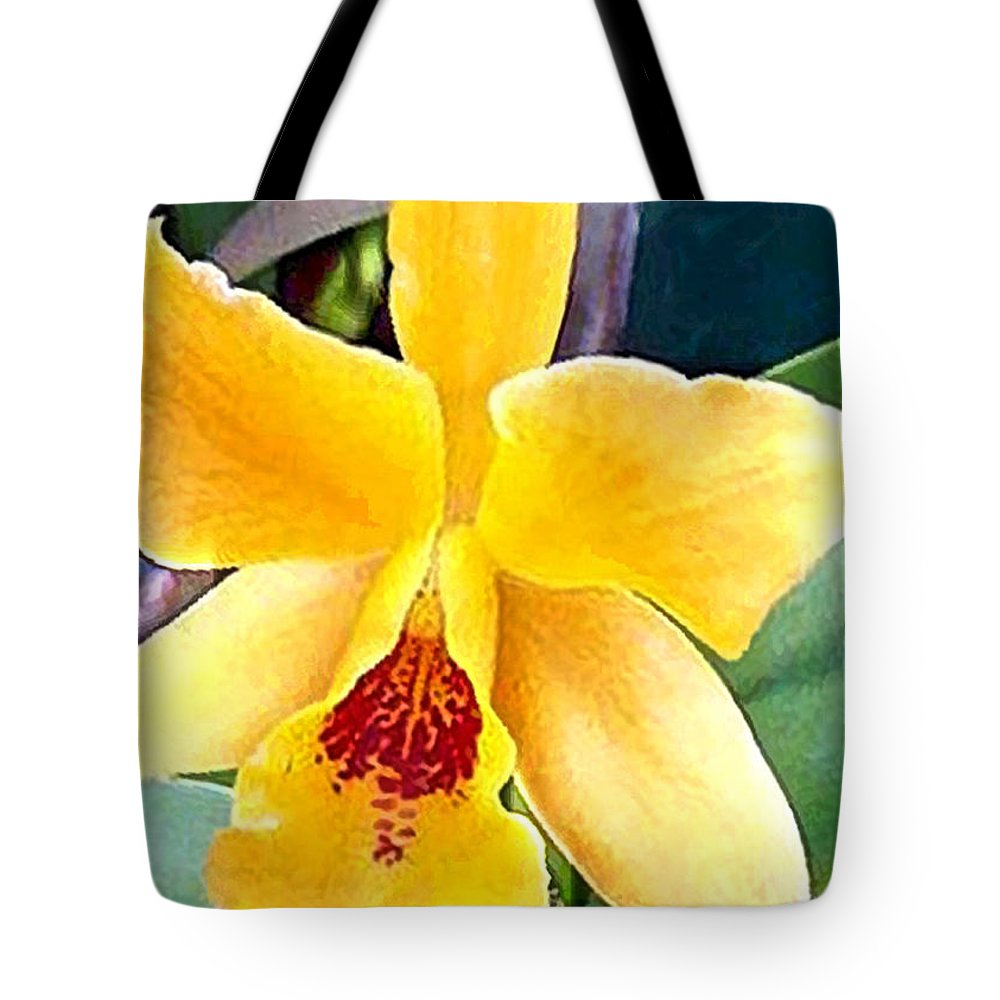 Orchid Tote Bag featuring the painting Bright Yellow And Red Cattleya Orchid by Elaine Plesser
