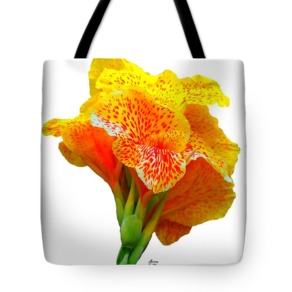 Yellow Tote Bag featuring the painting Bright Yellow Iris by Bruce Nutting