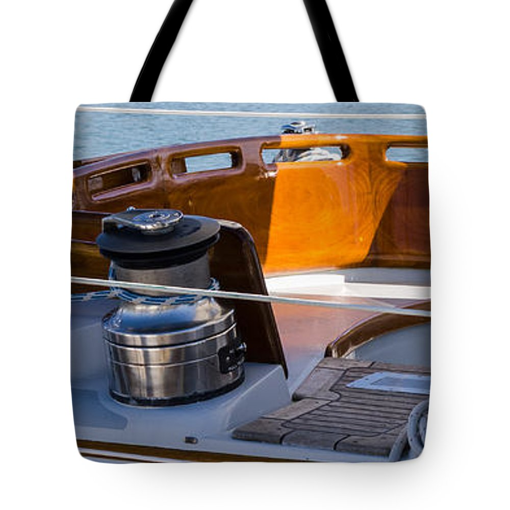 Boat Tote Bag featuring the photograph Brightwork by Ed Gleichman
