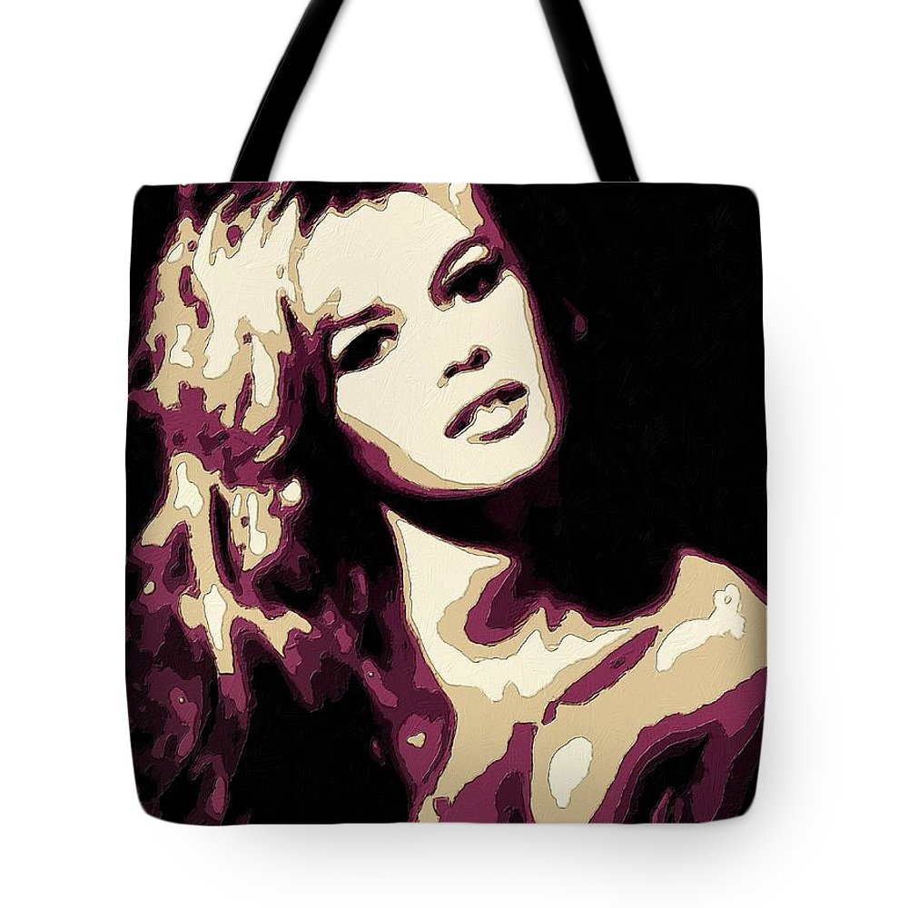 Brigitte Bardot Tote Bag featuring the painting Brigitte Bardot Poster Art by Florian Rodarte