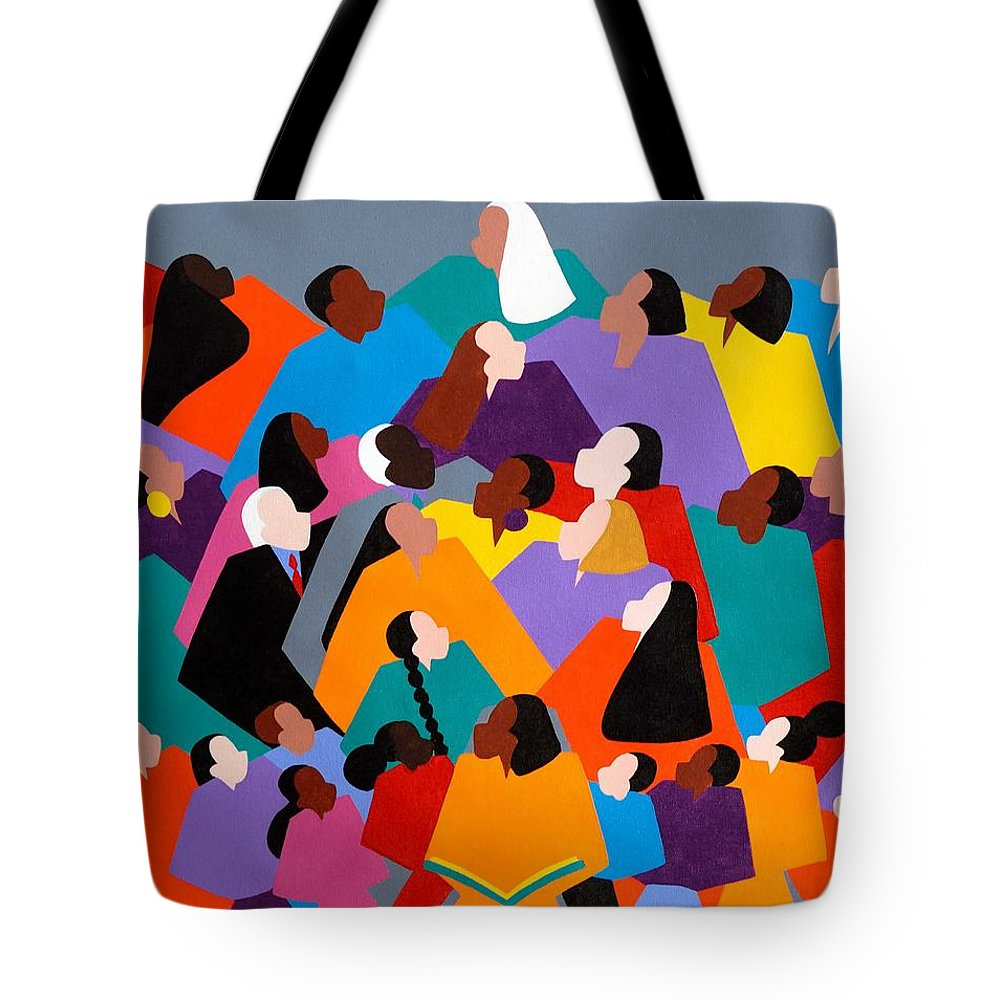 Figurative Tote Bag featuring the painting Brilliance by Synthia SAINT JAMES