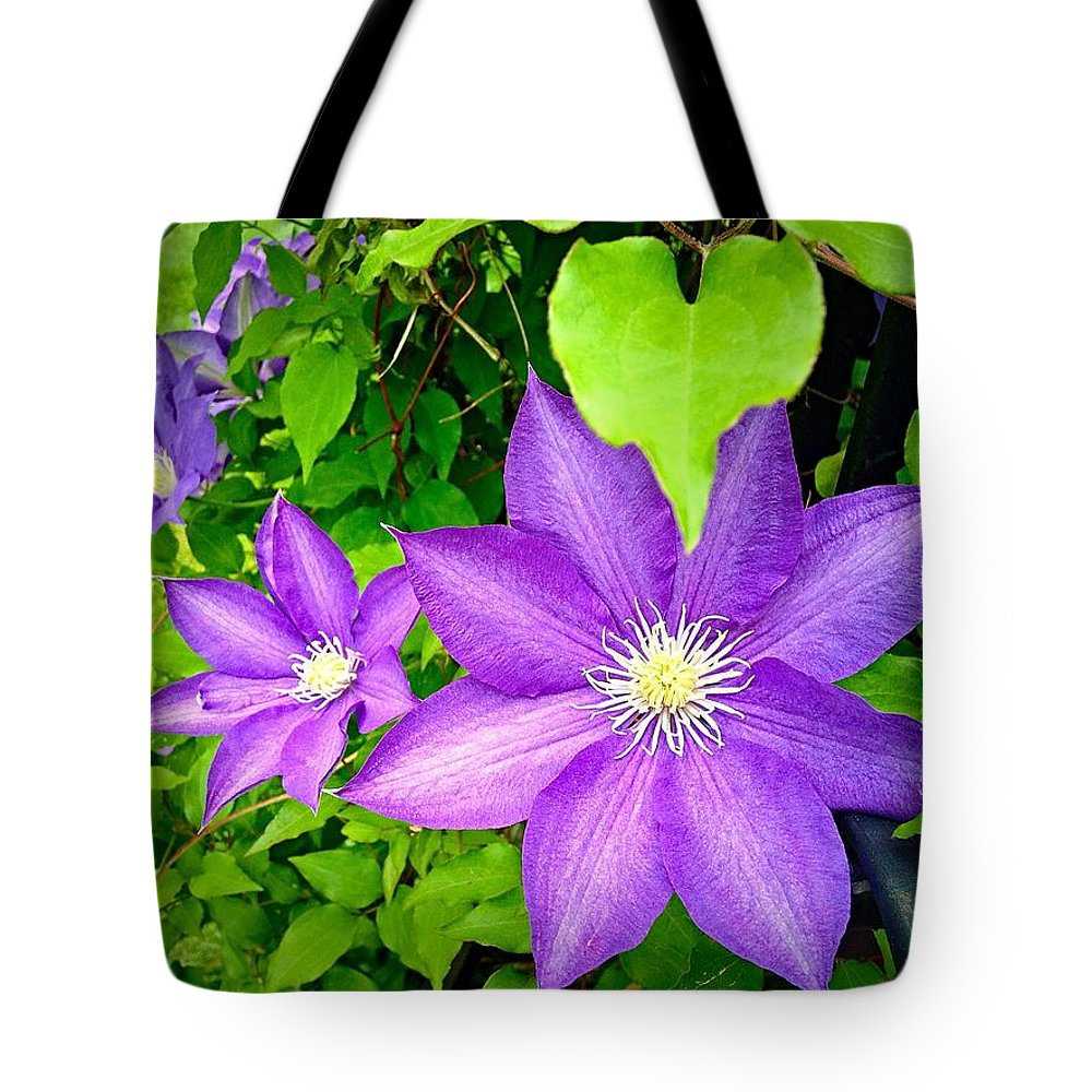 Flower Tote Bag featuring the photograph Brilliant Blue Clematis by Georgina Mizzi