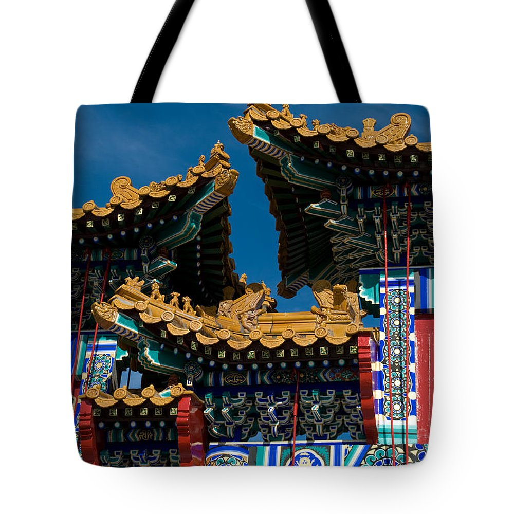 Asia Tote Bag featuring the photograph Brilliant Blues by Venetta Archer