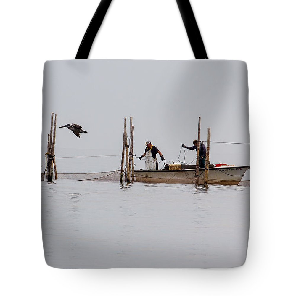 Bay Tote Bag featuring the photograph Bringing In The Catch 2 by Leah Palmer