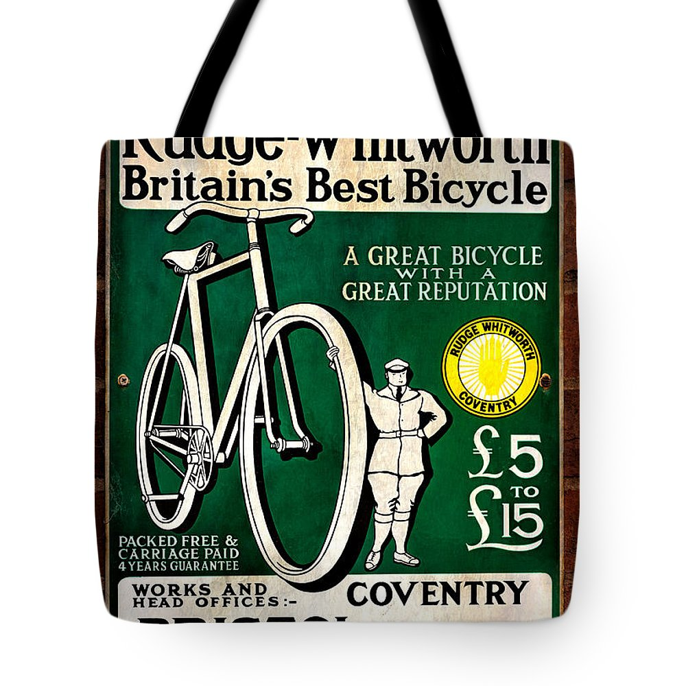 Advertising Sign Tote Bag featuring the photograph Britains Best Bicycle by Adrian Evans