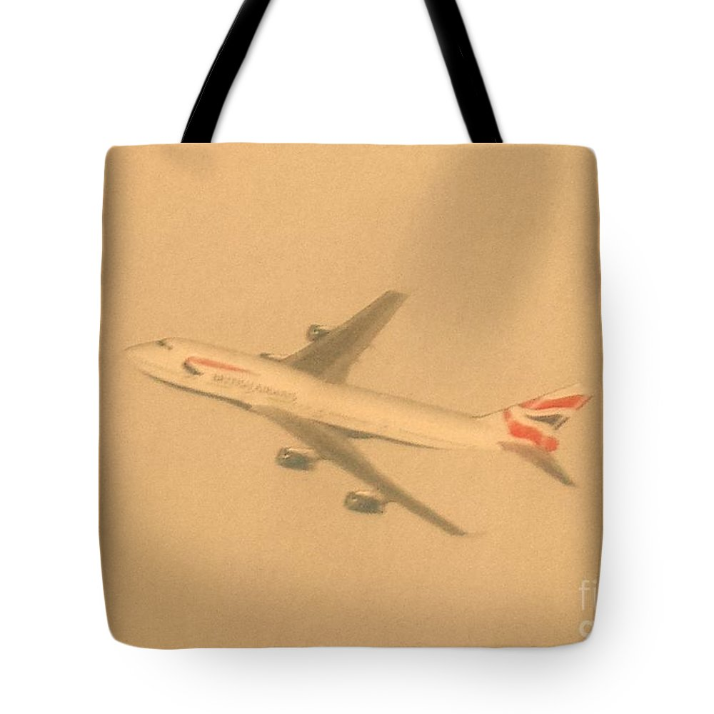 Aeroplane Flight Tote Bag featuring the photograph British Airways Aeroplane by Lisa Byrne