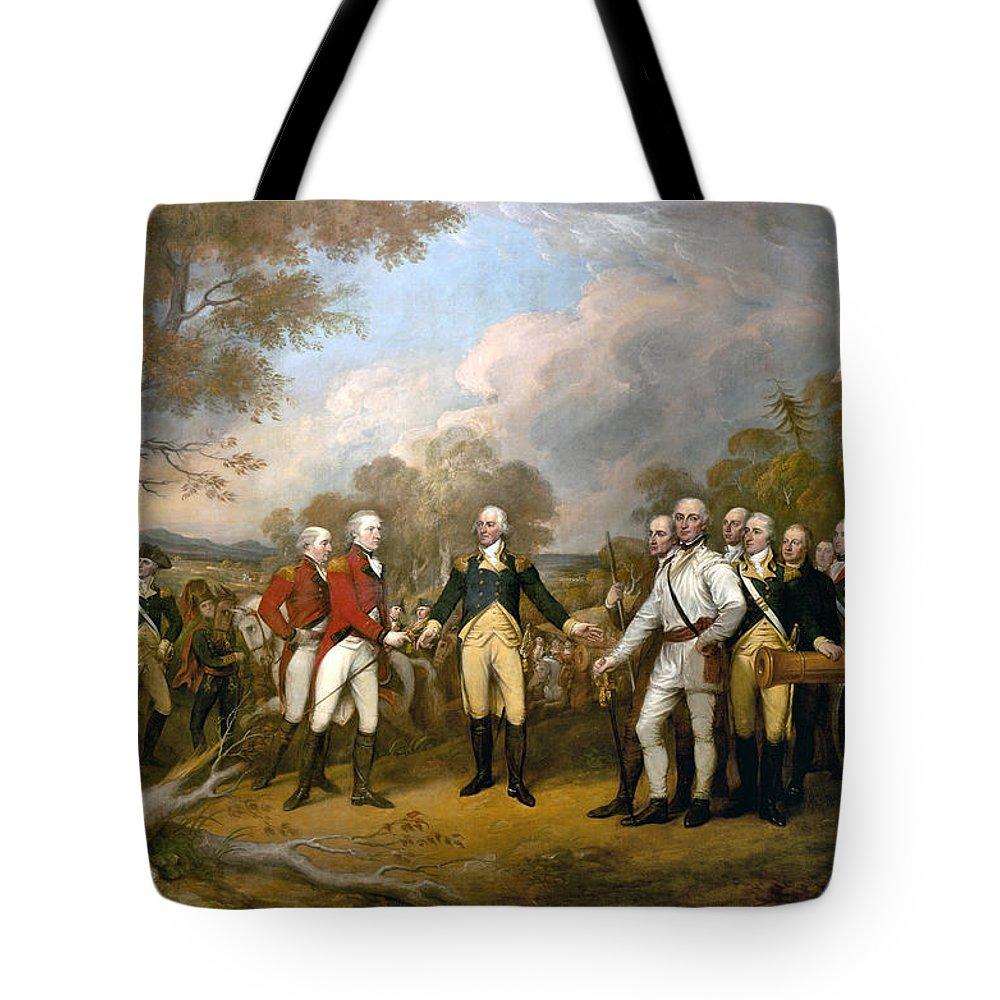 British General John Burgoyne Surrenders At Saratoga Tote Bag featuring the painting British General John Burgoyne Surrenders At Saratoga by Celestial Images