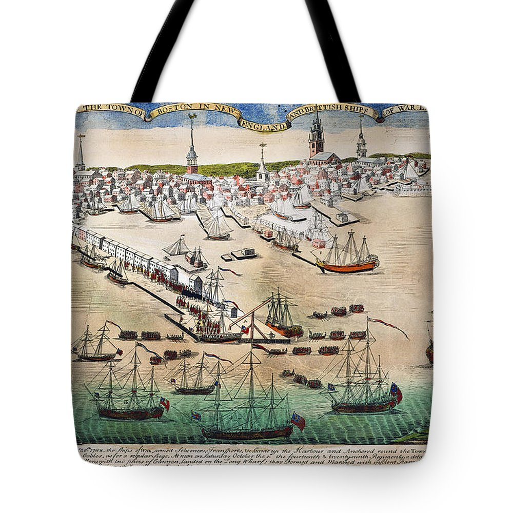 1768 Tote Bag featuring the photograph British Landing, 1768 by Granger