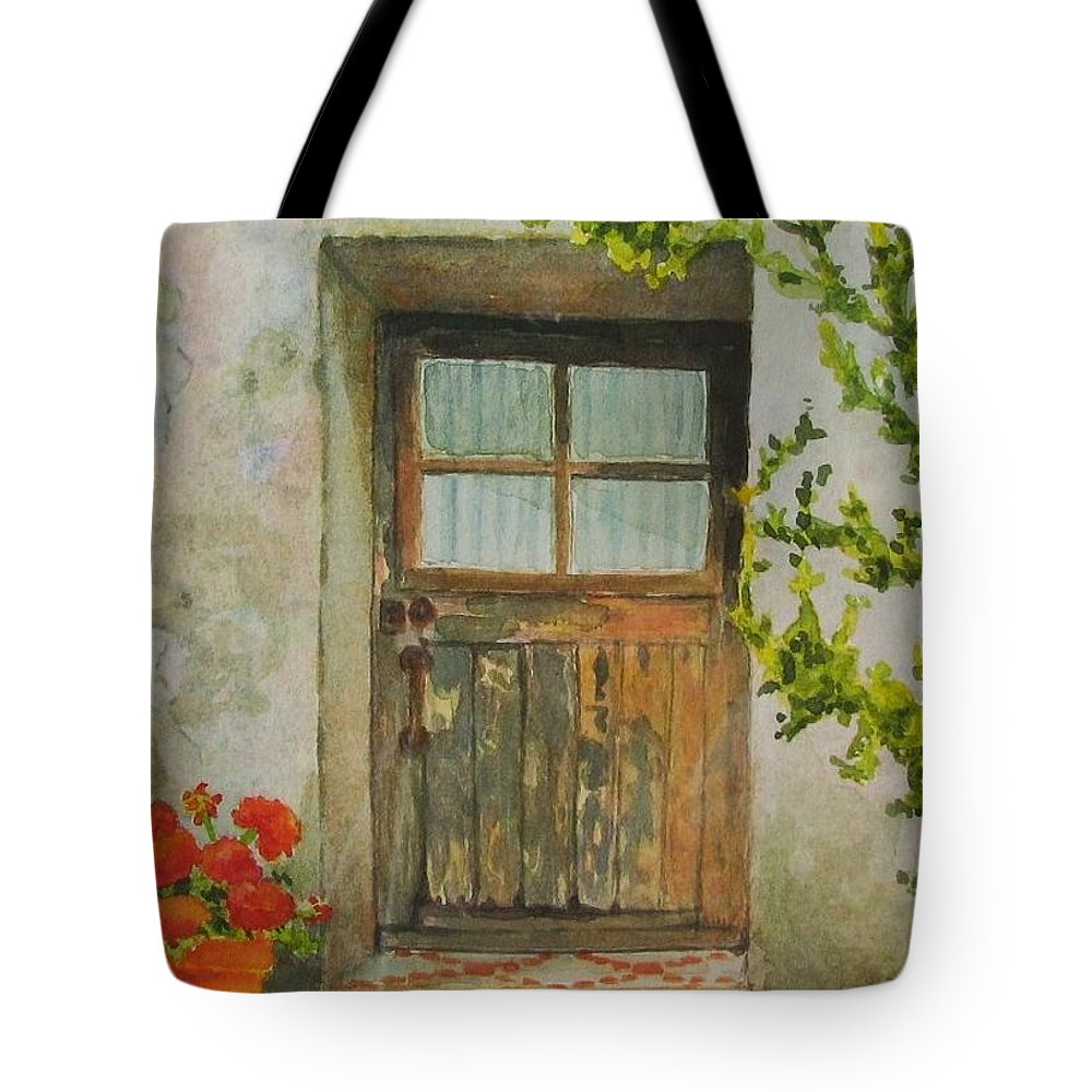 Door Tote Bag featuring the painting Brittany Door by Mary Ellen Mueller Legault