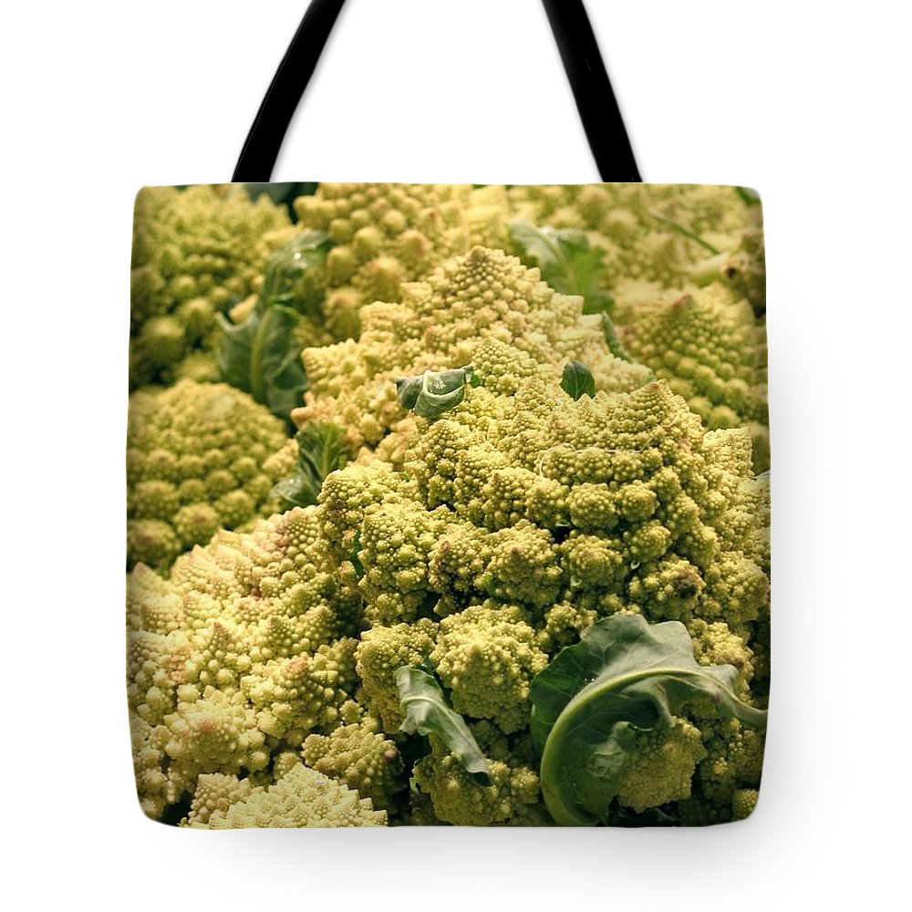 Broccoflower Tote Bag featuring the photograph Broccoflower by Jennifer Wheatley Wolf