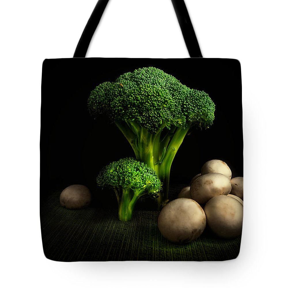 Art Tote Bag featuring the photograph Broccoli Crowns And Mushrooms by Tom Mc Nemar