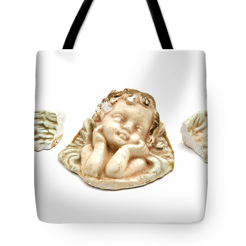 White Background Tote Bag featuring the photograph Broken Angel by Fabrizio Troiani