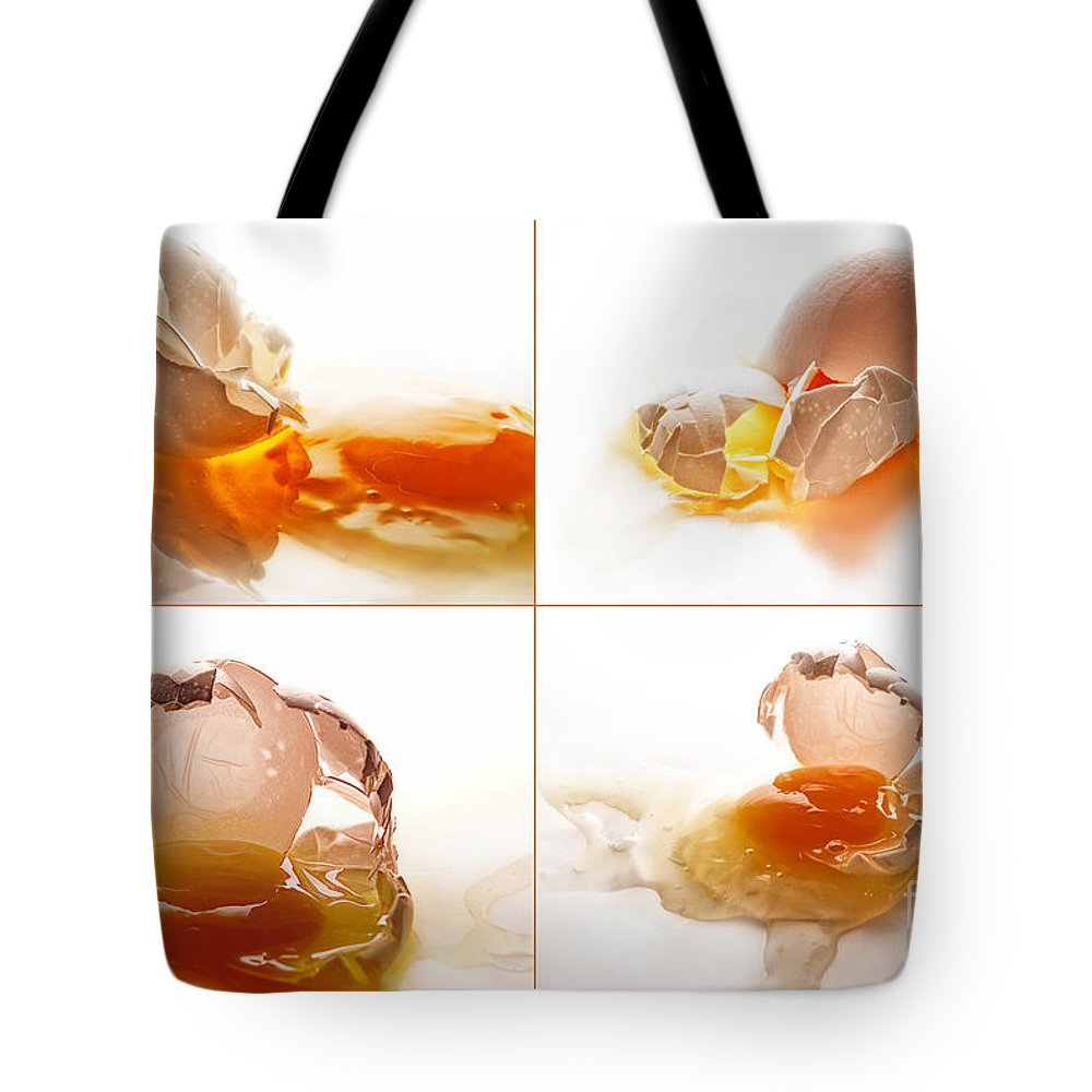 Eggs Tote Bag featuring the photograph Broken Chicken Eggs by Sabine Jacobs